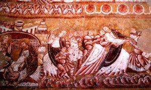 Fresques de Vic;de gauche à droite,le lavement de pieds,Pierre et Malchus,et l'arrestation du Christ