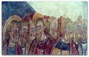 Vendome,fresques déplacées et protégées sous verre à la salle capitulaire de l'abbaye (Visages d'apotres)