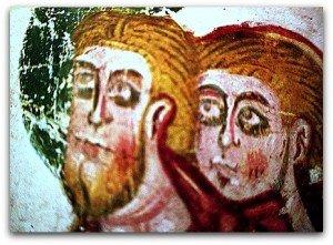 Membrana posch et lumina aux visages de deux apotres à St Savin