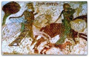 Deux cavaliers ,dont Charlemagne sur son cheval blanc