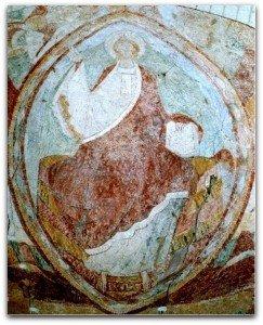 Christ en majesté dans sa mandorle à l'église haute de Tavant(Indre et Loire)