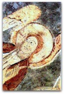 Détail de l'ange tenant St Jean
