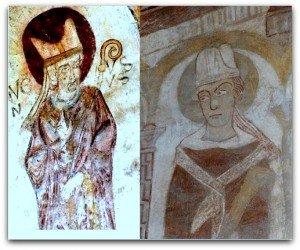 St Jacques des guérets à gauche,mitre du XII iéme siècle.Chartres(crypte de la cathédrale)à droite,mitre du XIII ième siècle.