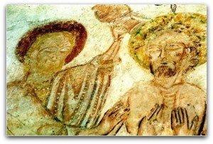 Une colombe représentant l'esprit divin vient effleurer la téte du Christ au baptéme de Lavardin(Loir et Cher)