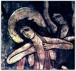 Peintures du XIII ième siècle à St Martin d' Aime(Rachel et le massacre des innocents)