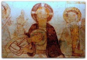Amné en champagne(Sarthe)Détail de la Cène.Le Christ bénit de la main droite.La position de la main de Jean penché sur la poitrine du Christ est signe d'abandon à son maitre.Les autres apotres sont main ouverte en signe d'acceptation