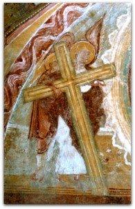 Ange portant la croix,a la mandorle du Christ de l'apocalypse ,à la tour porche de St Savin