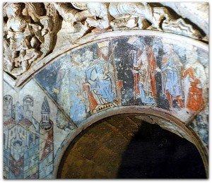 Le roi Hérode devant les rois mages à l'arcade d'une des galeries de la salle capitulaire de St Aubin d'Angers