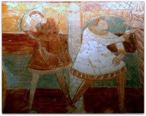 Détail des Noces de Cana à Brinay;serviteurs portant la chainse