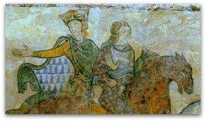 Vair au revers du vetement d'un cavalier à Sainte Radegonde de Chinon