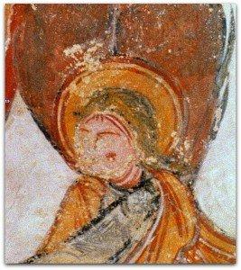 Détail de l'ange entourant la gloire de la Vierge