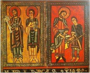 Détail du devant d'autel d'HIX,St Pierre à gauche,St Martin à droite