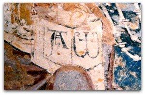 Le Livre ouvert avec l'Alpha et l'Omega (Christ de la cathédrale d'Auxerre)