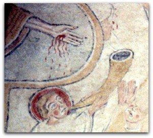 Détail du Christ montrant ses plaies et ange sonnant de la corne