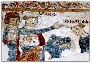 Neau(peintures du XIII ième siècles)St Vigor doigts tendus horizontalement,ordre et volonté d'enseigner