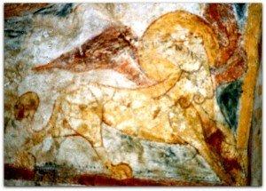Le lion ailé de St Marc à la chapelle de Rouillac prés de Moncuq dans le Lot