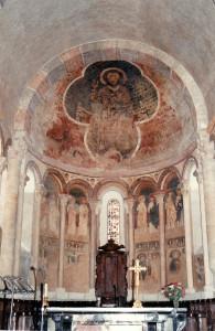Ensemble des peintures,Christ en majesté du XIII iéme,dans une mandorle quadrilobée