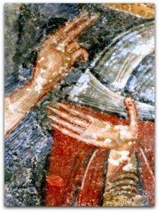 Mains de la Vierge et de l'ange Gabriel