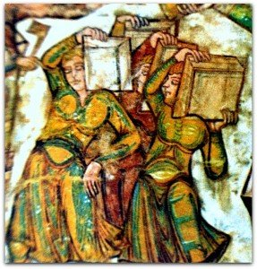 Détail de la construction de la tour de Babel à St Savin;un groupe d'ouvriers.