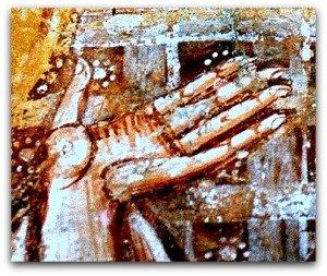 Main de Pierre à Vic en signe d'acceptation(scène du lavement de pieds)
