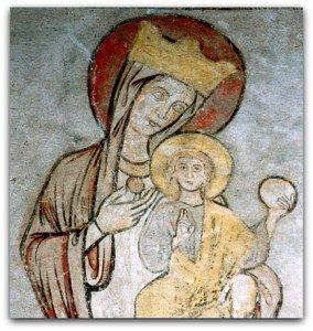 Chamalières sur Loire,vierge à l'enfant,soulignée d'un épais trait noir(Peinture de la fin du XII ième)