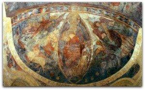 Voute de l'abside(Christ,archanges,symboles des évangiles et vases à oreillettes)
