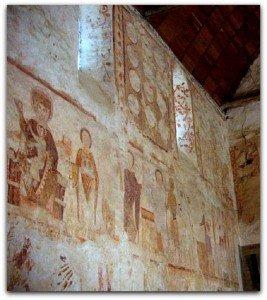 Peintures du mur  nord de la nef