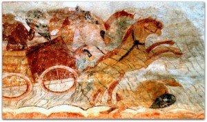 Les chevaux du char de pharaon cabrés devant la mer rouge à St Savin