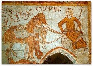 Gargilesse(Indre).Galopin gardant les chevaux au regards tendres des rois mages(peintures du XIII ième siècle)