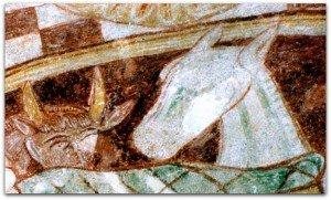 Cheval blanc à la nativité de Boussac Bourg.