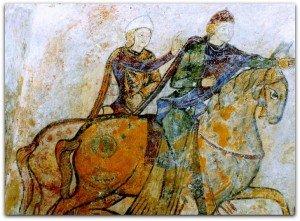 Cavalier au faucon et Aliènor d'Aquitaine à Chinon