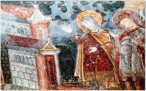 St Savin et St Cyprien devant  la cité d'Amphipolis