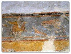 Frise représentant des scènes de chasse