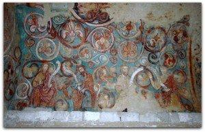 Rameaux fleurdelisés entrelacés et prophétes a la voute de l'oratoire de Moissac