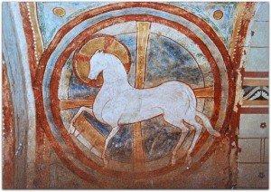 L'image rare d'un cheval pascal remplaçant l'agneau