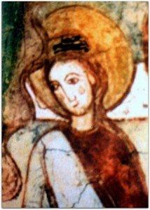 Détail de l'une des trois Saintes femmes à la gauche de la Vierge