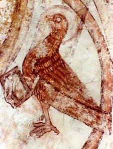 Aigle de St Jean du XIV ième siècle.On distingue dans l'angle supérieur droit les bordures de la gloire du XII ième