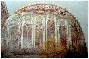 Fresque du mur norfd de la Chapelle St Clément.