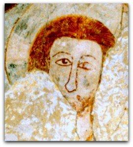 Téte du Christ aux cheveux roux bien peignés