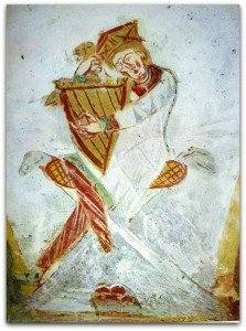 le Roi David couronné jouant de la harpe