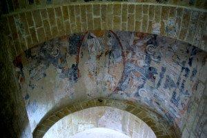 Ensemble des peintures de la première travée de la voute(Crit en gloire et symboles)