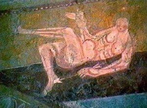 Homme nu une fleche plantée dans le pied à Brinay (Cher)