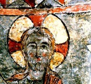 Touches de vermillon au Christ de la Céne de Angoustrine (Pyrénées orientales)Fin du XII iéme siécle)