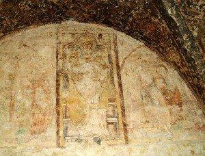 Fresque début XIII iéme ,dans la galerie de Notre dame sous terre(vierge a l'enfant)