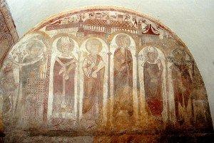 Ensemble des fresques du mur de fond de la chapelle St Clément