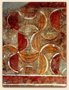 Rouge et Vermillon aux fresques du XII iéme siécle de Chateau Landon (Essonne)