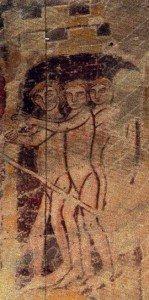 Elus en petits hommes nus au jugement dernier de Asniéres sur Végre