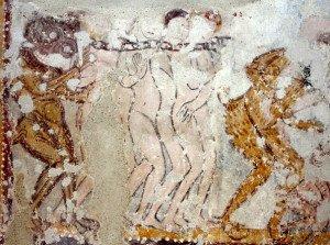 Damnés et démon figurés nus à St Jacques des Guérets