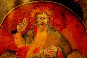 Rouge au Christ de l'abside de l'église St Geniés de Thiers (fin du XII èmé siécle)