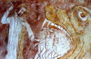 Adam et Eve nus sont extraits de la bouche du Léviathan (Lutz en Dunois)